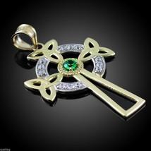 Two-Tone Gold Celtic Cross Trinity Knot Diamond Pendant w/ Genuine Emera... - $299.99+
