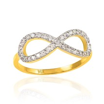 Gold Diamond Infinity Ring (Yellow, White, Rose) (Made in USA) - $299.99+