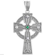 Solid White Gold Celtic Trinity Diamond Cross Pendant with Genuine Emerald - $299.99+