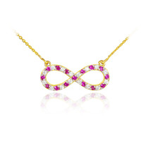14K Gold Diamond & Ruby Studded Infinity Necklace (Made in USA) - $399.99 - $429.99