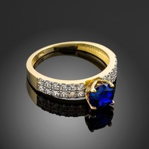 Gold Blue Sapphire Diamond Pave Engagement Ring (Yellow, White, Rose Gold) - $599.99+