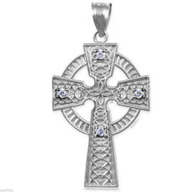 925 Solid Sterling Silver Celtic Diamond Cross Pendant - $149.99