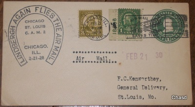 1928 Air Mail Cover- Lindbergh Again Flies the Air Mail - $20.00