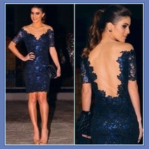 Blue Lace Gauze Portrait Neckline Backless Short Sleeve Prom Evening Mini Dress