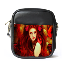 Sling Bag Leather Shoulder Bag Beautiful Sexy Girl Fantasy With Red Hair Design  - $14.00