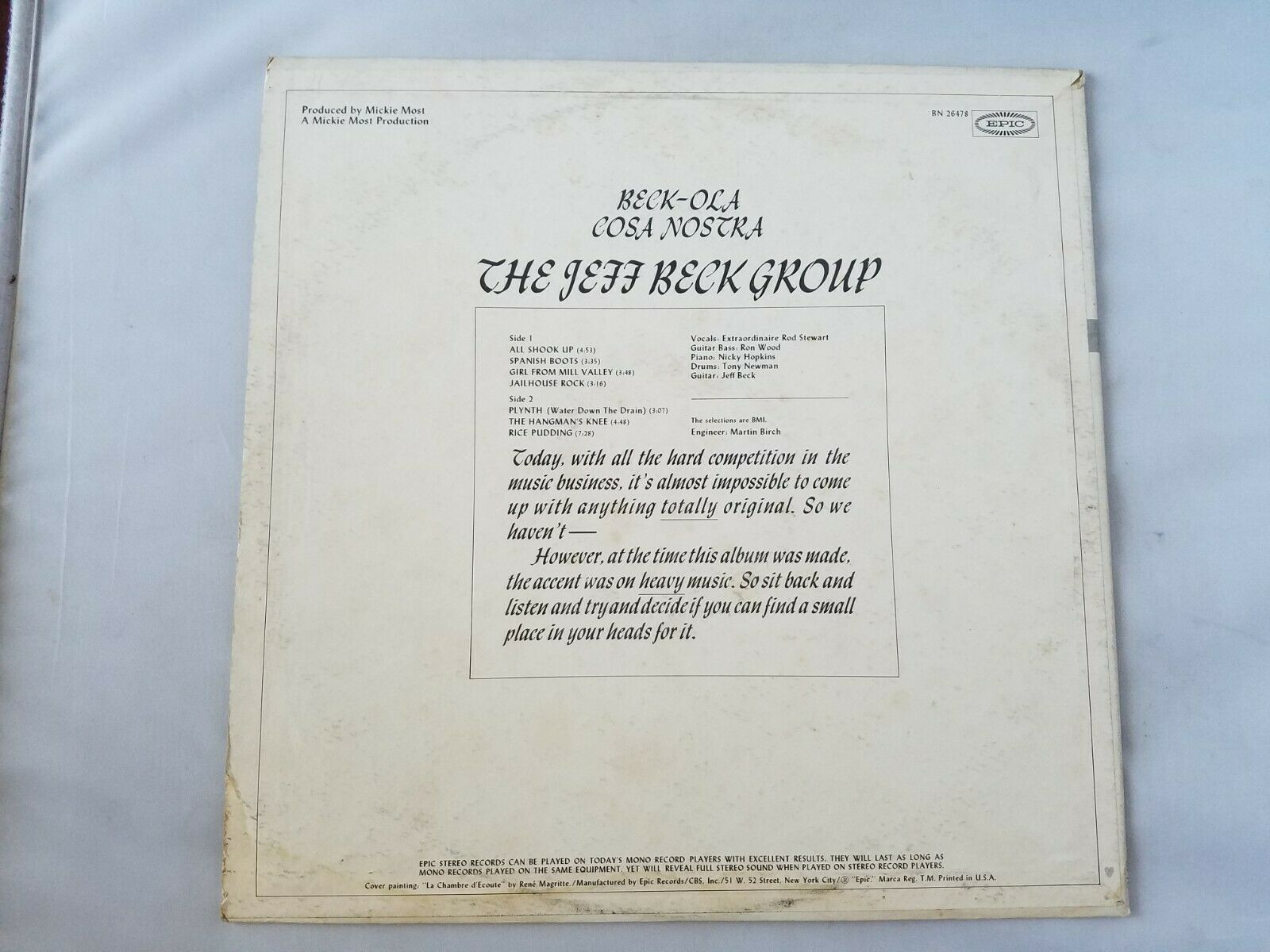 The Jeff Beck Group Beck-Ola Cosa Nostra Vinyl Vintage Record 1978 Epic CBS