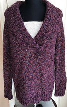 Christopher & Banks Purple Multicolor Long Sleeve Sweater Women's Petite M - $14.84