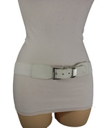 New Women White Elastic Waistband Fashion Belt Silver Metal Buckle Narrow S M L - $14.69