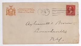 1901 Secretary of State Albany New York Cover to Leonardsville NY - $11.99