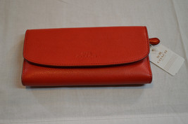 NWT AUTHENTIC Coach F56488 Pebble Leather Checkbook Wallet SV/Bright Red... - $72.57