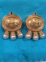 18k Gold Intaglio Tourmaline Earrings 39.6 grams - $1,650.00