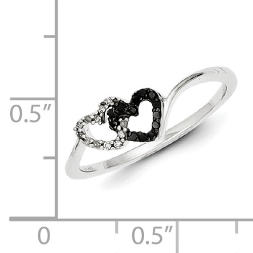 Sterling Silver Black & White Diamond Heart Ring