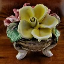 Vintage CAPODIMONTE Bouquet of Roses Flower Vase Vintage Footed Centerpiece Bowl - $69.95