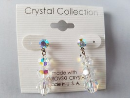 Crystal Collection Drop Dangle Earrings Made With Swarovski Crystals Rou... - $14.02