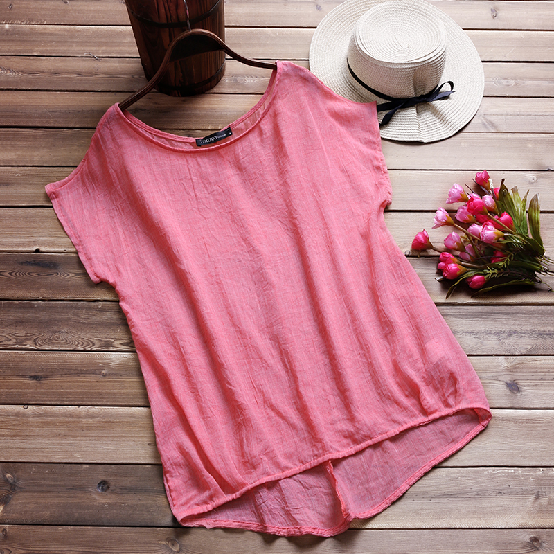 ZANZEA Summer Blouse 2018 Women Short Batwing Sleeve Ladies Loose Casual Shirt B