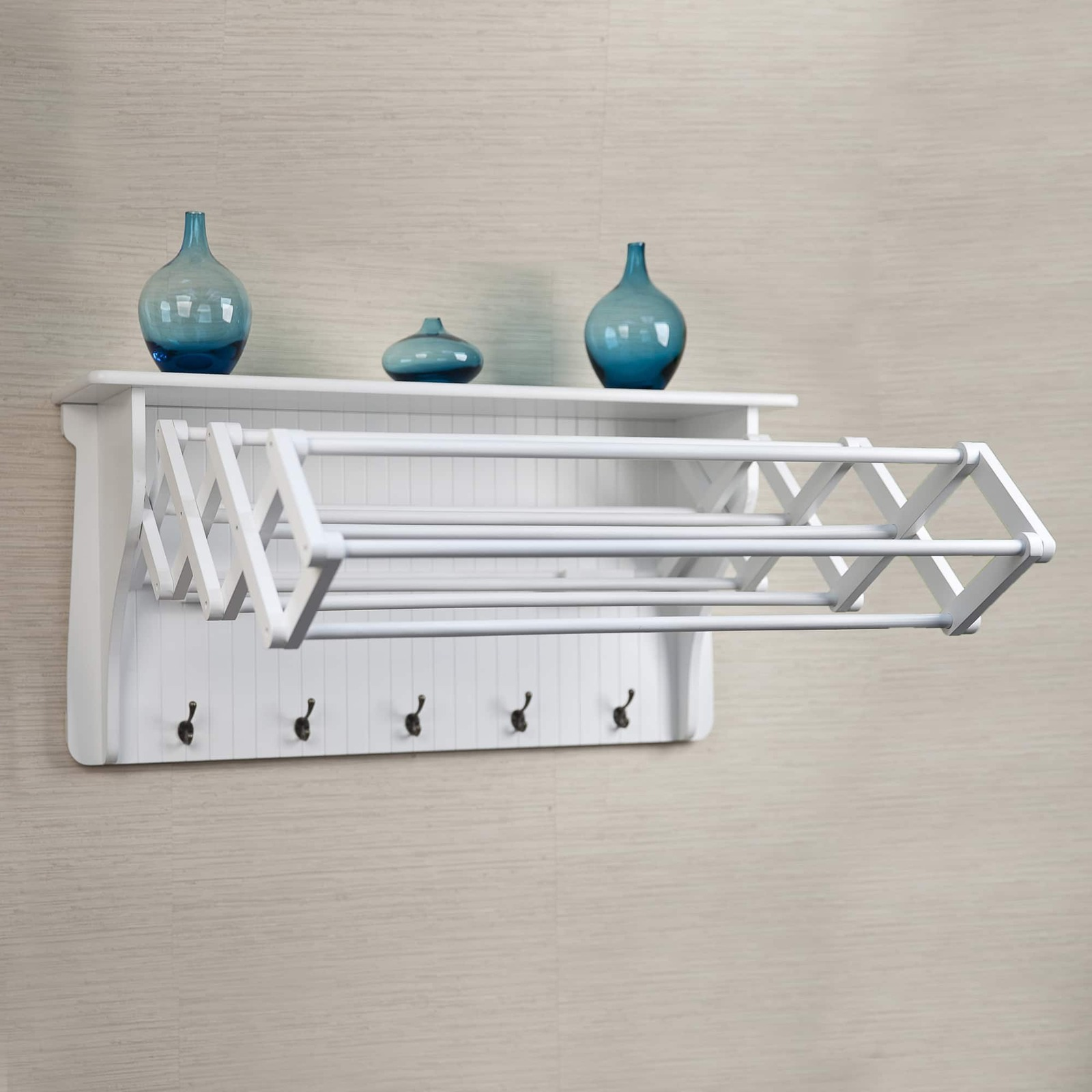 Accordion Drying Rack Wall Mount Clothing Air Dry Hanging Collapsible Laundry