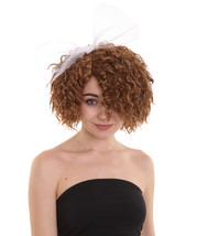 Womens 80s Wild Curly Wig with Bow | Brown Vintage Wigs | Premium Breathable Cap - $29.85