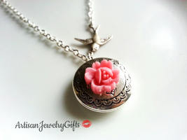 Silver Locket Pink Blossom Necklace Silver Sparrow Necklace Round Silver... - $36.00+
