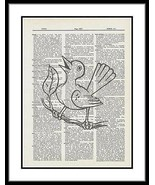 Bird Tree Branch Dictionary Art Print Singing Bird Art  bird011 - $10.99