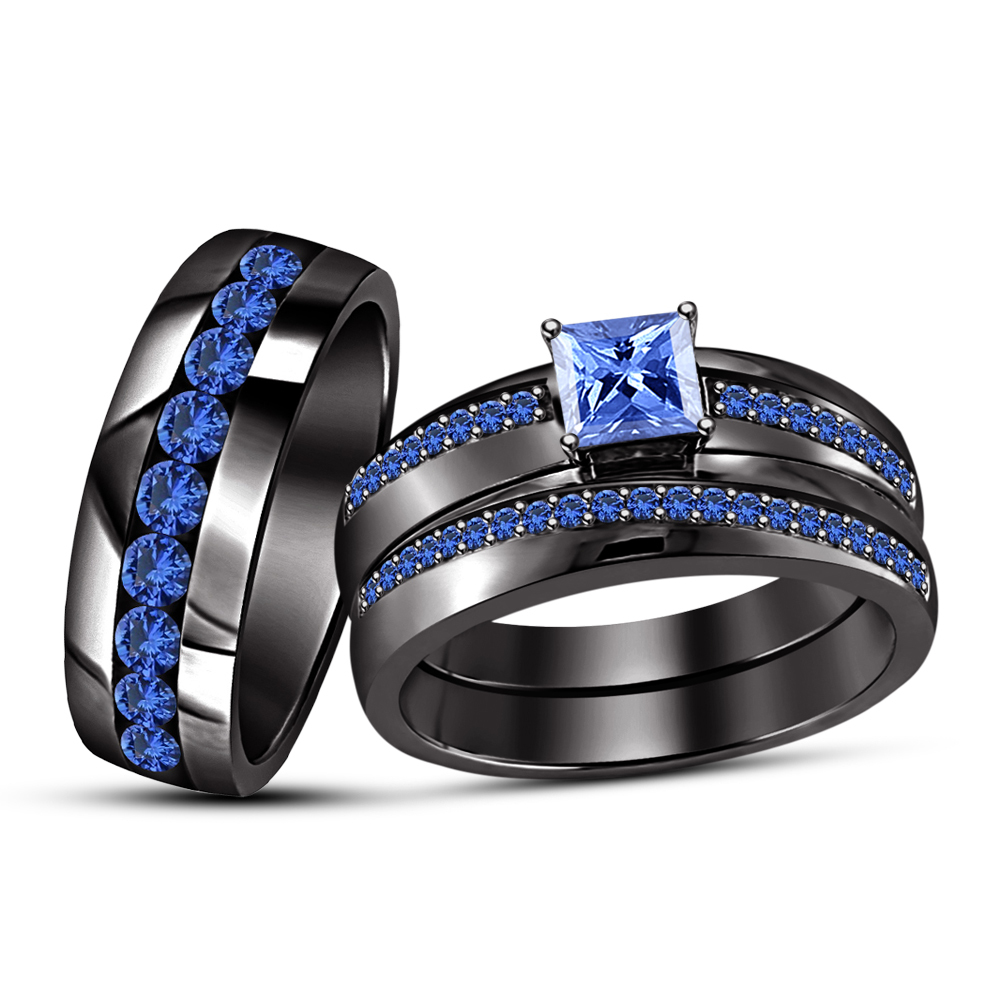 Primary image for Princess Cut Blue Sapphire Black Rhodium Finish 925 Silver Trio Wedding Ring Set