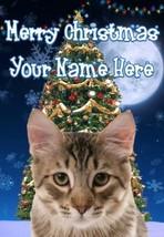 Tabby Cat Merry Christmas Personalised Greeting Card codeTM136 - $3.89