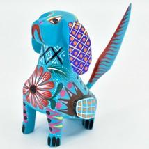 Handmade Alebrije Oaxacan Wood Carving Painted Folk Art Angry Face Dog Figurine image 2