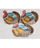 Maxcera Thanksgiving Turkey Shape Appetizer Side Plates Set of 3 - $34.99