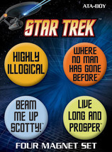 Classic Star Trek Quotes Round Magnet Carded Set of 4, NEW SEALED - $8.79