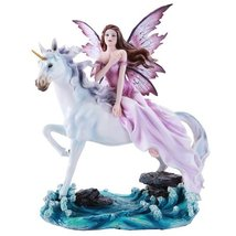 Beautiful Fairy Riding Gracefully on Mystical Unicorn Figurine Collectib... - £52.65 GBP