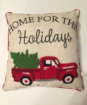 "Red Farm Truck Throw Pillow Embellished Home for the Holidays 17"" Countr... - $39.48"