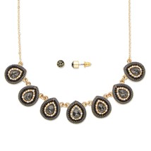 "2-Piece Grey and White Crystal 14k Gold-Plated Necklace and Earrings Set 16""-19"" - $15.08"