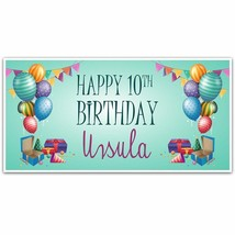 Balloons and Presents 10th Birthday (or any age) Party Banner Party Decoration - $28.22+