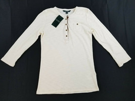 new LAUREN RALPH LAUREN women top shirt 209586256003 white cream S MSRP ... - $28.99