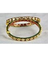 ANTIQUE FLAT DIAMOND STUDDED IN 22K  GOLD JADAU MEENA LADIES WEDDING BAN... - $3,515.00