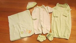 Carters layette set BABY Blanket Green White Stripes Baby Chick gown sle... - $14.84