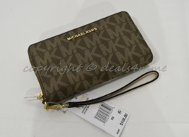 Michael Kors Fulton Flat Multi-Function Phone Case Wallet/Wristlet Mocha Brown - $99.00