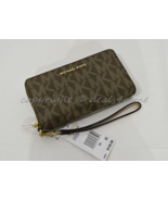 Michael Kors Fulton Flat Multi-Function Phone Case Wallet/Wristlet Mocha... - $99.00