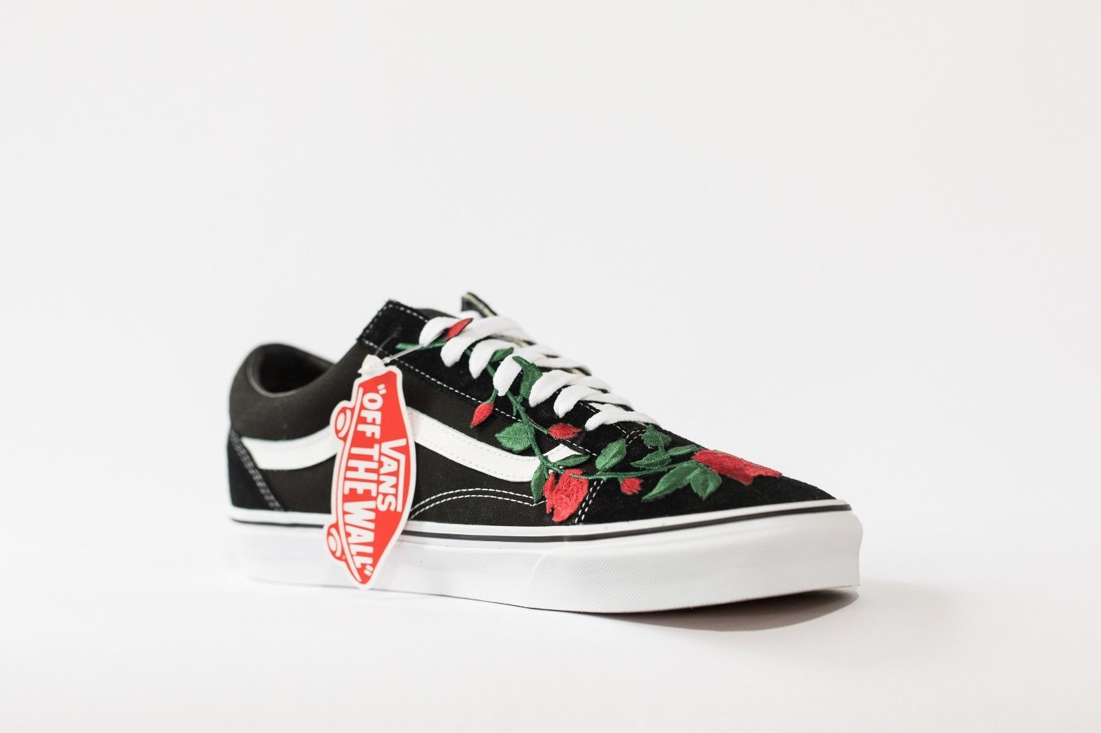 Vans Rose embroidered customs available in all sizes black and white image 3