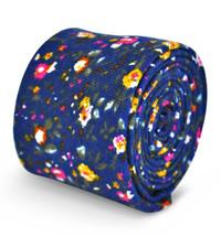 Frederick Thomas Homme Coton/lin Cravate en bleu avec motif fleur ft3107