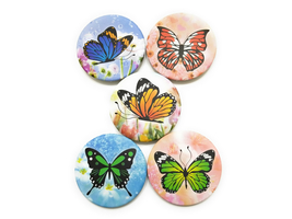 Butterfly Theme Folding Makeup Round Compact Mirror - $5.95