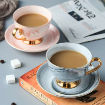 Coffee Cup Nordic Glod Marble And Saucer Set Ceramic Tea Water Cup Porce... - $24.80