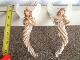 "2 VINTAGE CERAMIC ANGELS CHRISTMAS ORNAMENTS 6 1/2"" - E-10 - $17.56"