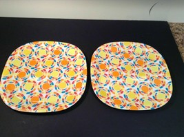 Greenbrier Square Square Plastic Dinner Plate Lot of 4 11 in Yellow Oran... - $15.88