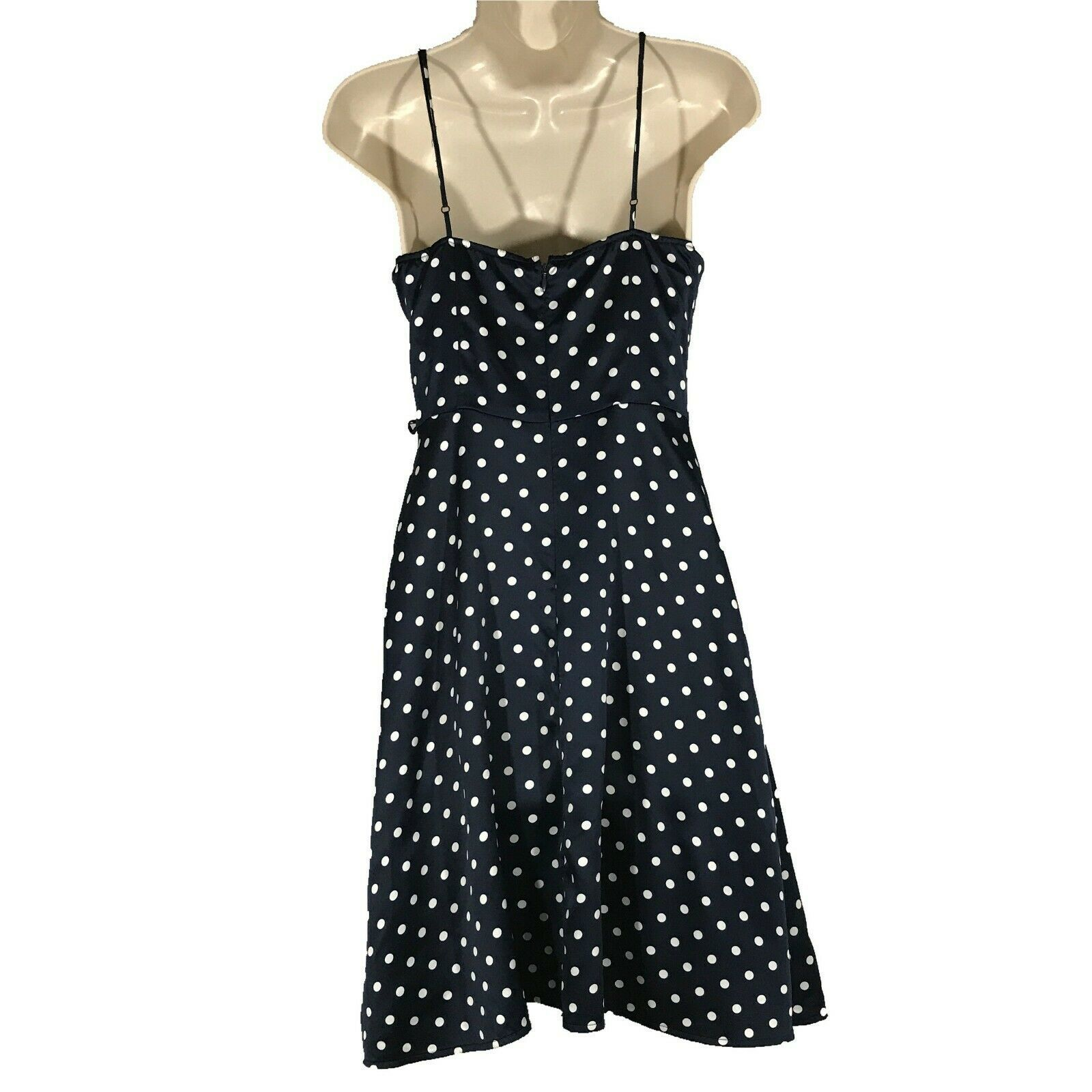 Forever 21 Small Dress Navy Blue White Polka Dot Satin Cocktail Beach Party SEXY