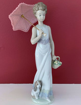Lladro Garden Classic #7617 Collectors Society Girl W/ Umbrella & Flowers 9'TALL - $199.99