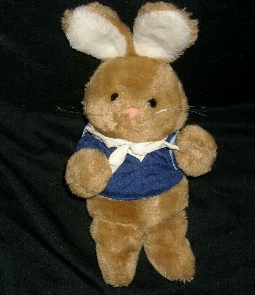 "12"" VINTAGE 1984 DAKIN BABY BROWN BUNNY RABBIT SAILOR STUFFED ANIMAL PLUSH TOY - $23.38"