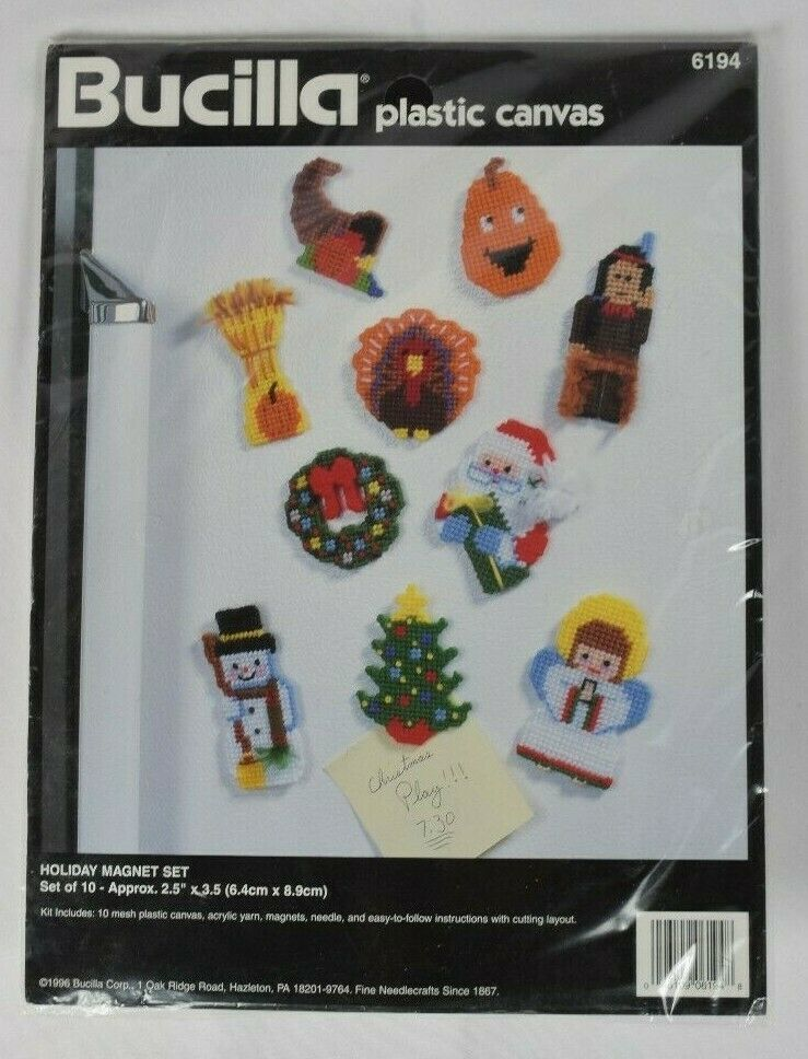 Primary image for NEW Bucilla Holiday 1996 Magnet Set Plastic Canvas Needlepoint Kit #6194