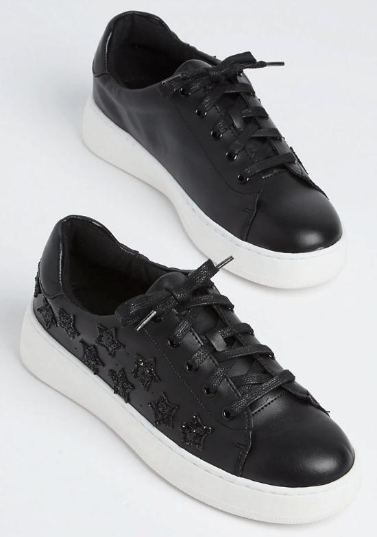 NEW Pair Rue21 Wild Diva Lounge Black Glitter Star Sneaker Gym Shoes 8.5 US