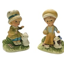 Set of 2 Homco Girl with kitten & Boy with puppy #1430  Porcelain Figurines - $10.88