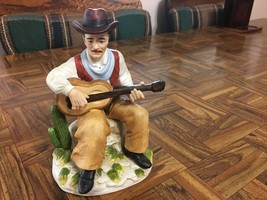 Homco Seated Cowboy with Guitar Western Scene Cactus Porcelain Figurine #1472 - $25.23